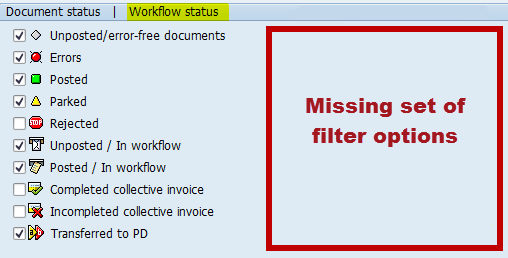 Workflow status filter options missing in the PROCESS