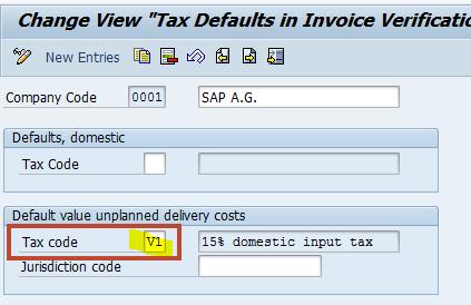 Default value tax code